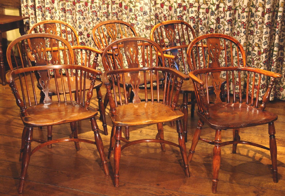 set of six yew wood windsor dining chairs