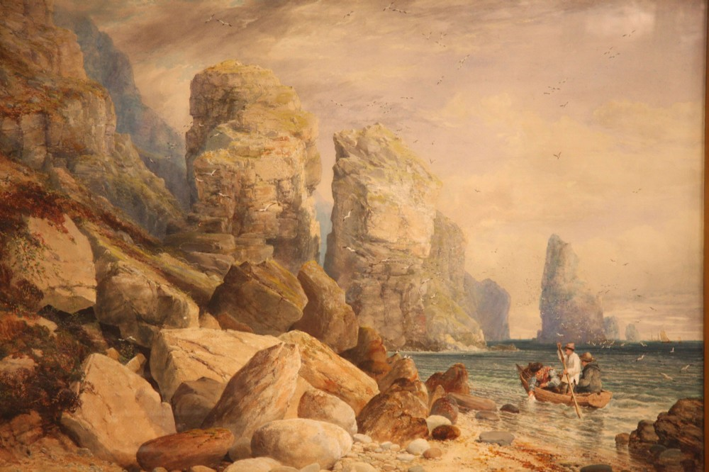 victorian watercolour painting of st brelades bay jersey