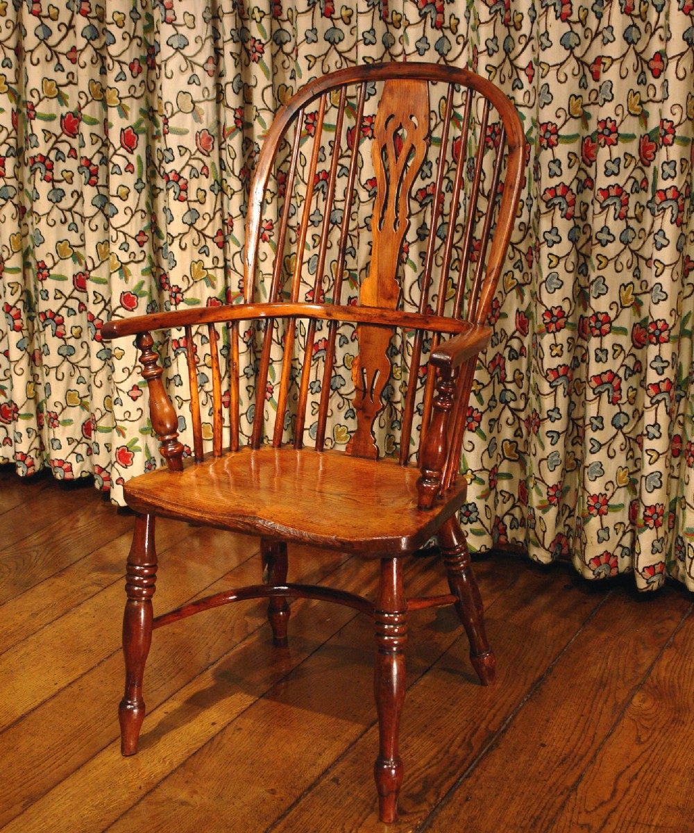 victorian yew wood windsor armchair