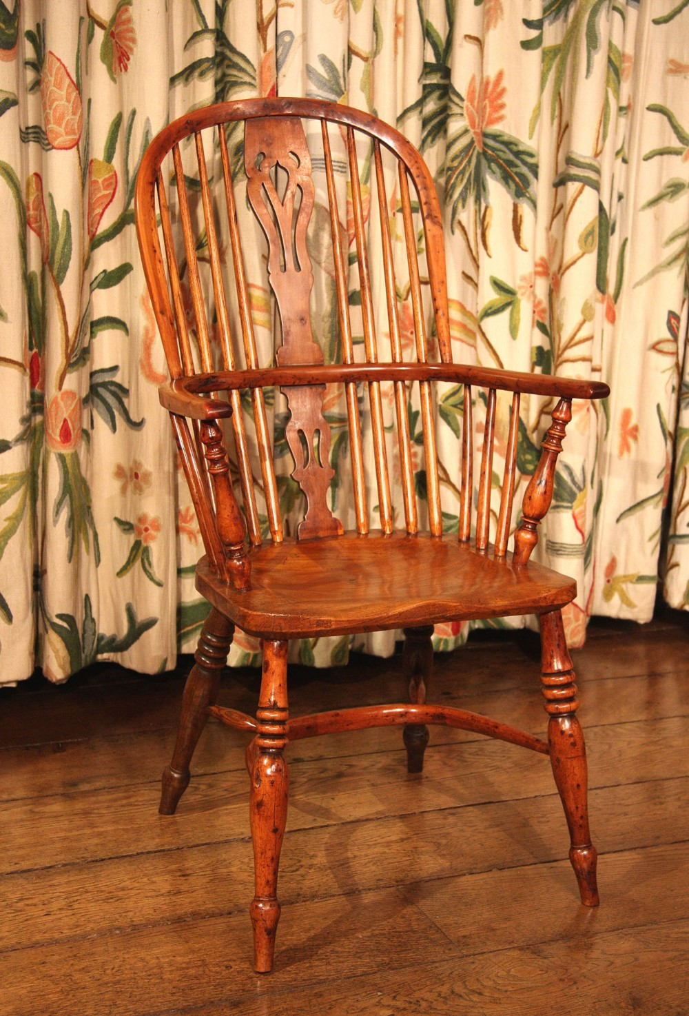 victorian yew wood windsor dining chair armchair