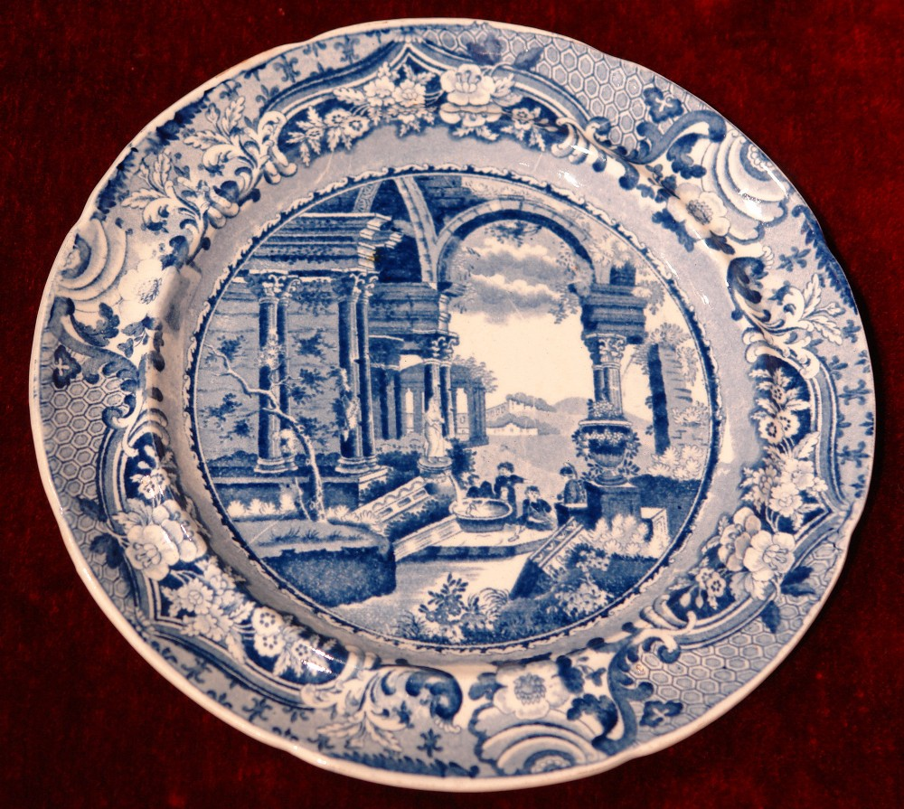 blue and white ancient rome plate