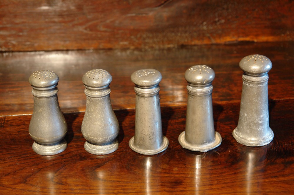 five victorian pewter casters pepper pots