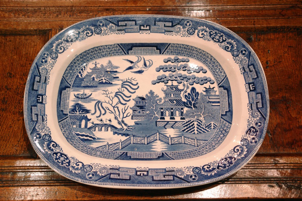 extra large blue and white willow pattern meat plate