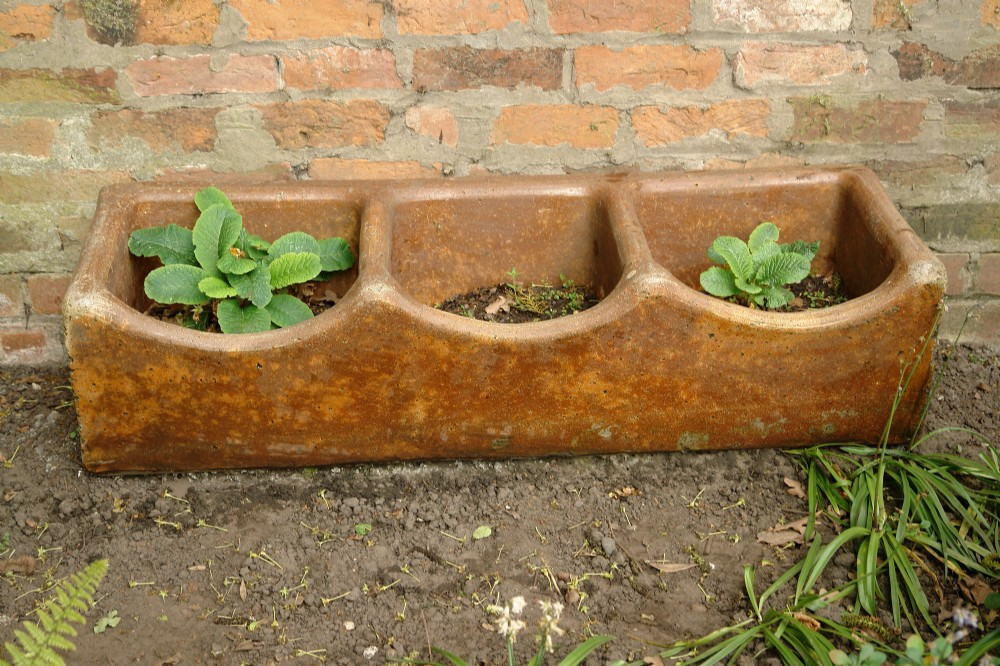 19th century stoneware trough planter