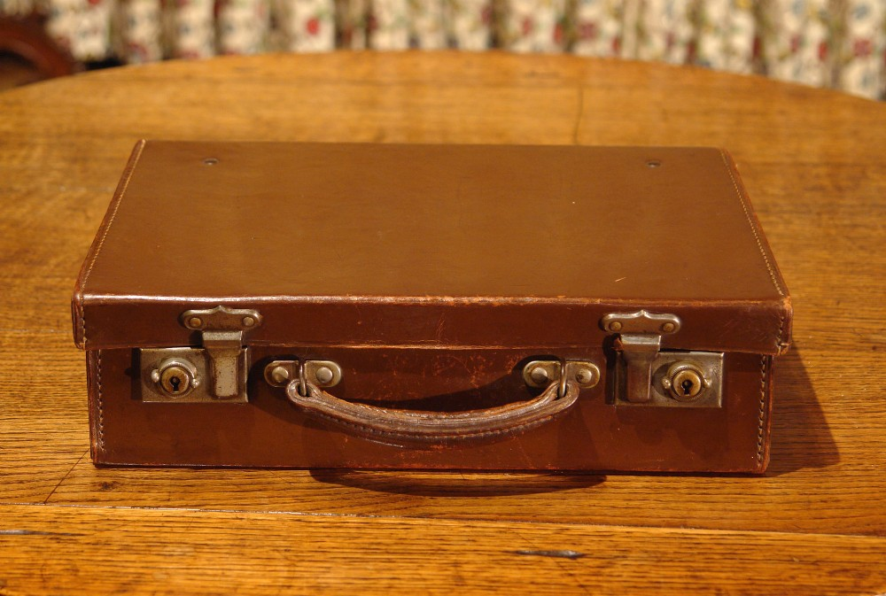 small leather suitcase briefcase