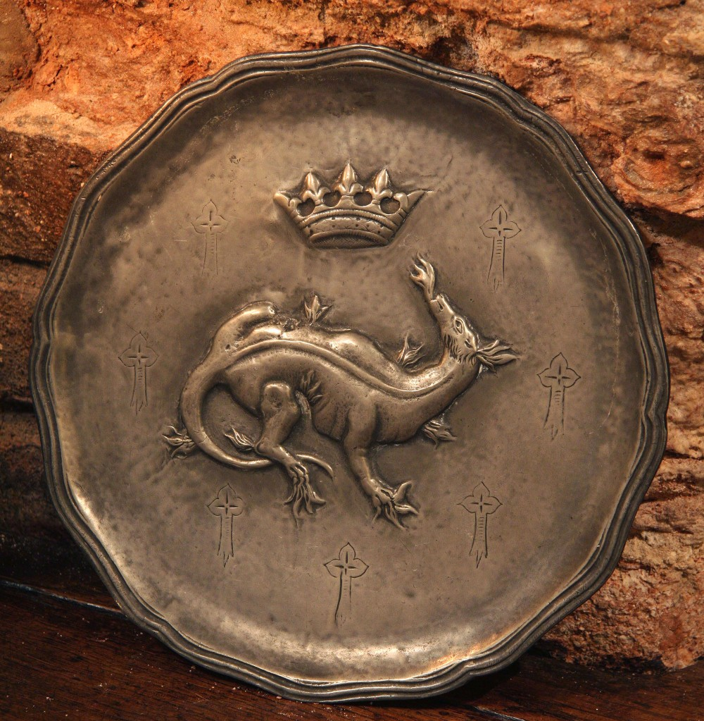 victorian pewter plate charger