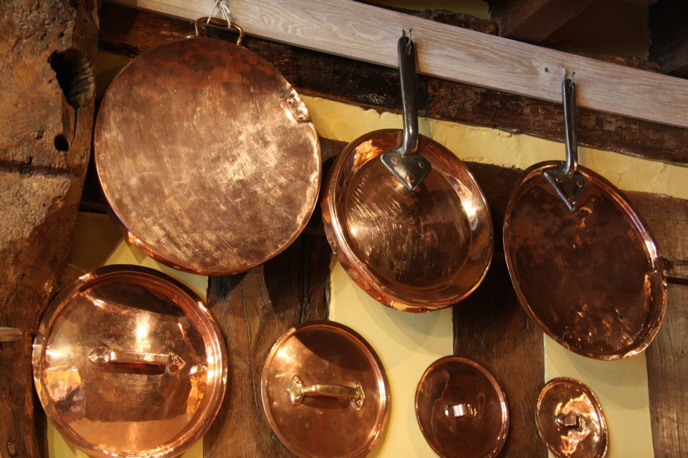 victorian copper pan lids