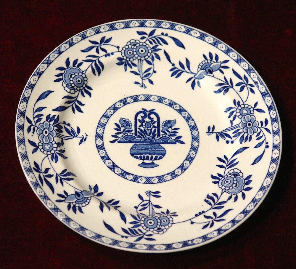 wood sons blue and white delph plate