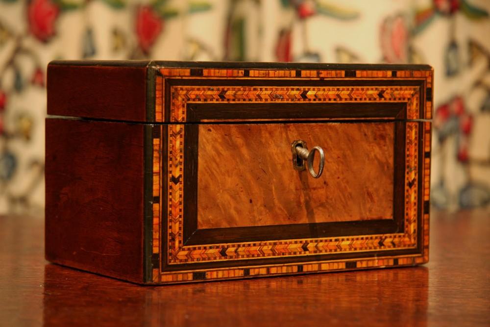 victorian walnut parquetry tea caddy