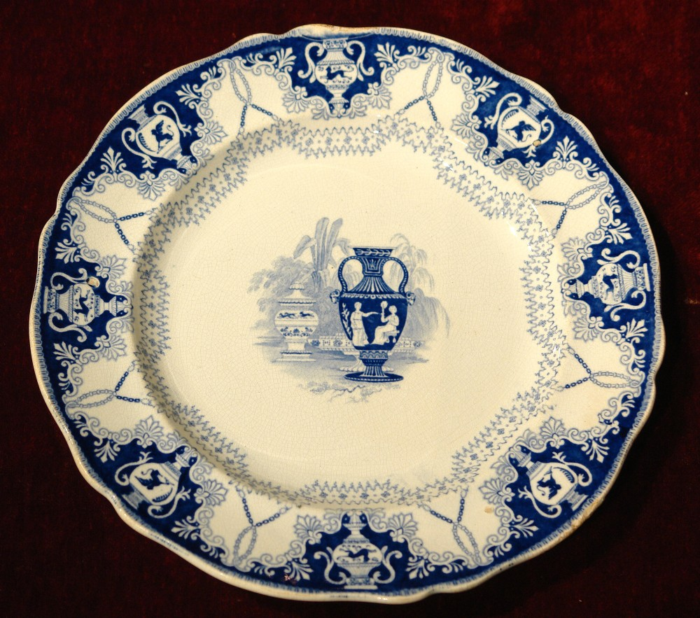 early 19th century blue and white plate by f r pratt