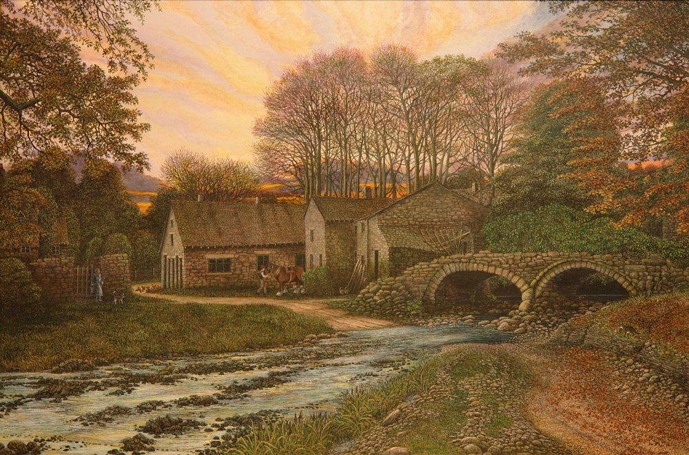 painting of wycollar bridge and ford lancashire