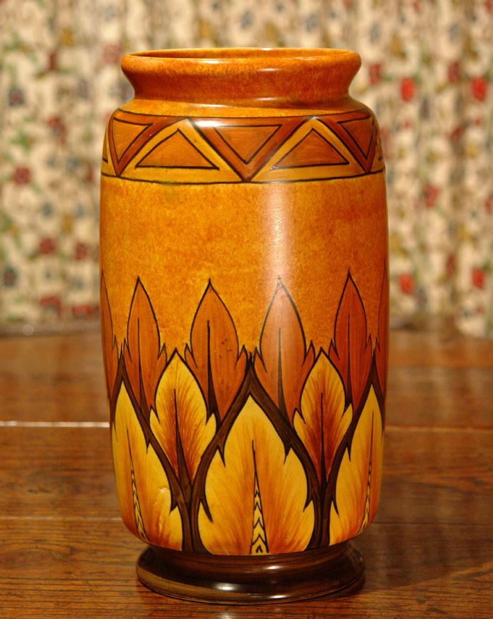 large art deco chameleon ware vase