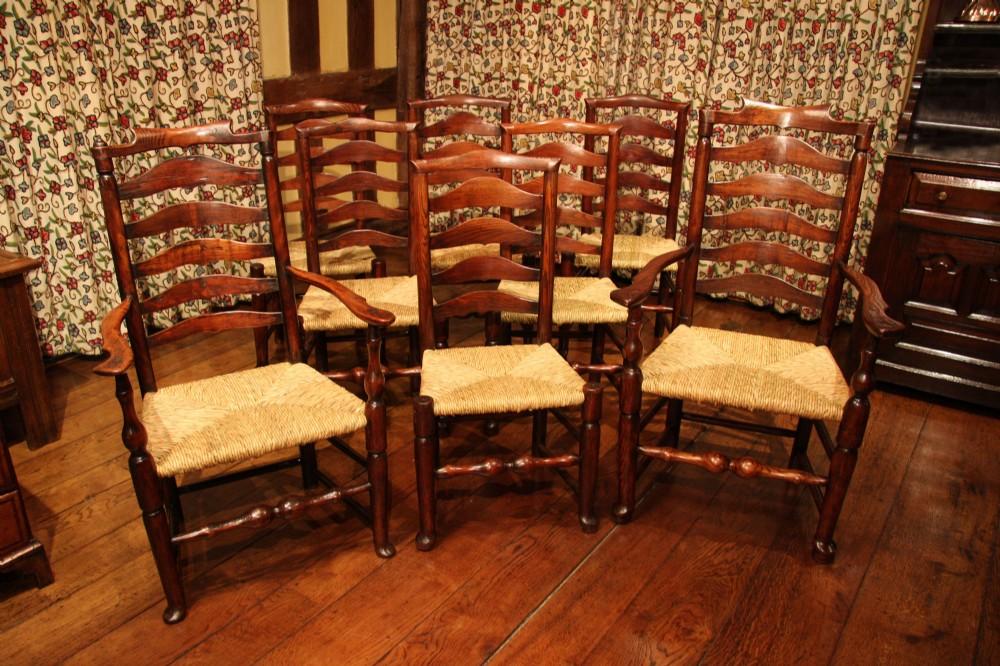 set of eight billinge ladderback dining chairs