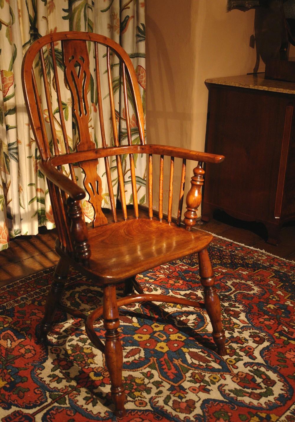 victorian yew wood windsor armchair