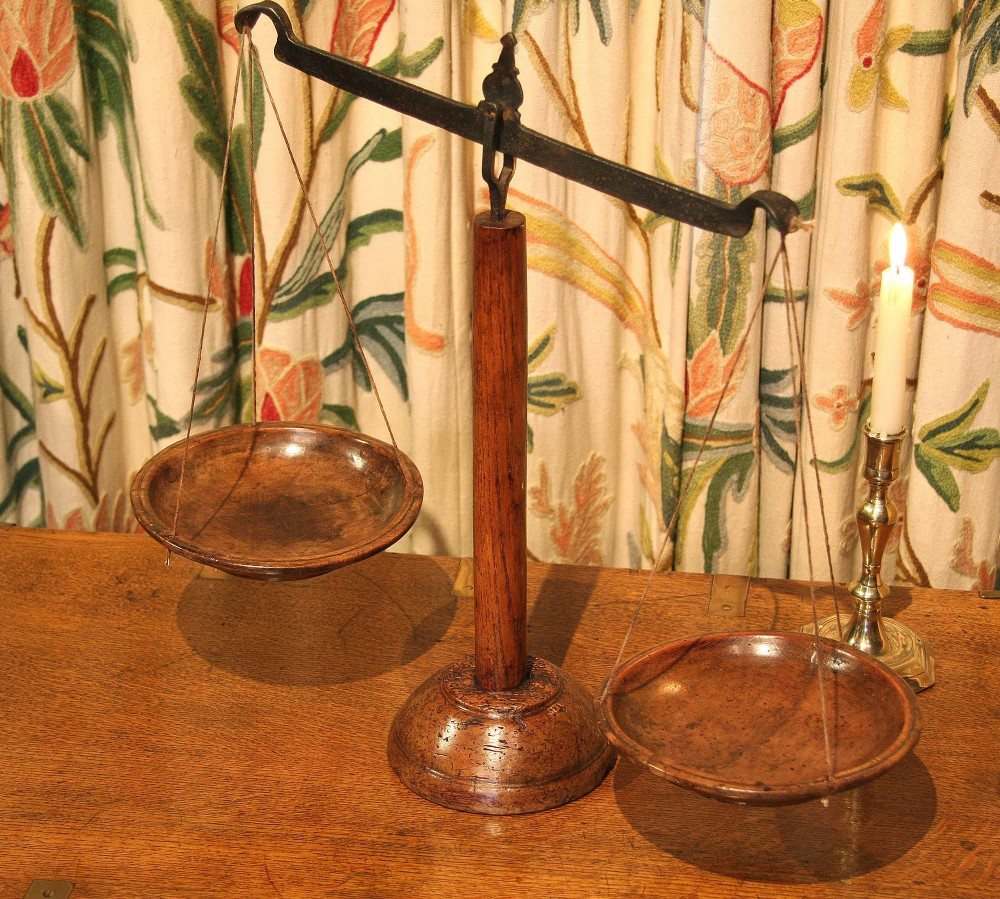19th century wooden weighing scales butter scales