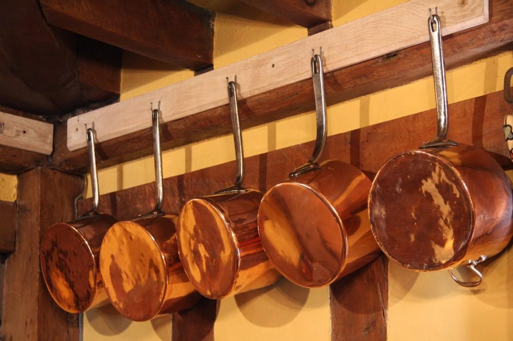 set of five victorian copper saucepans