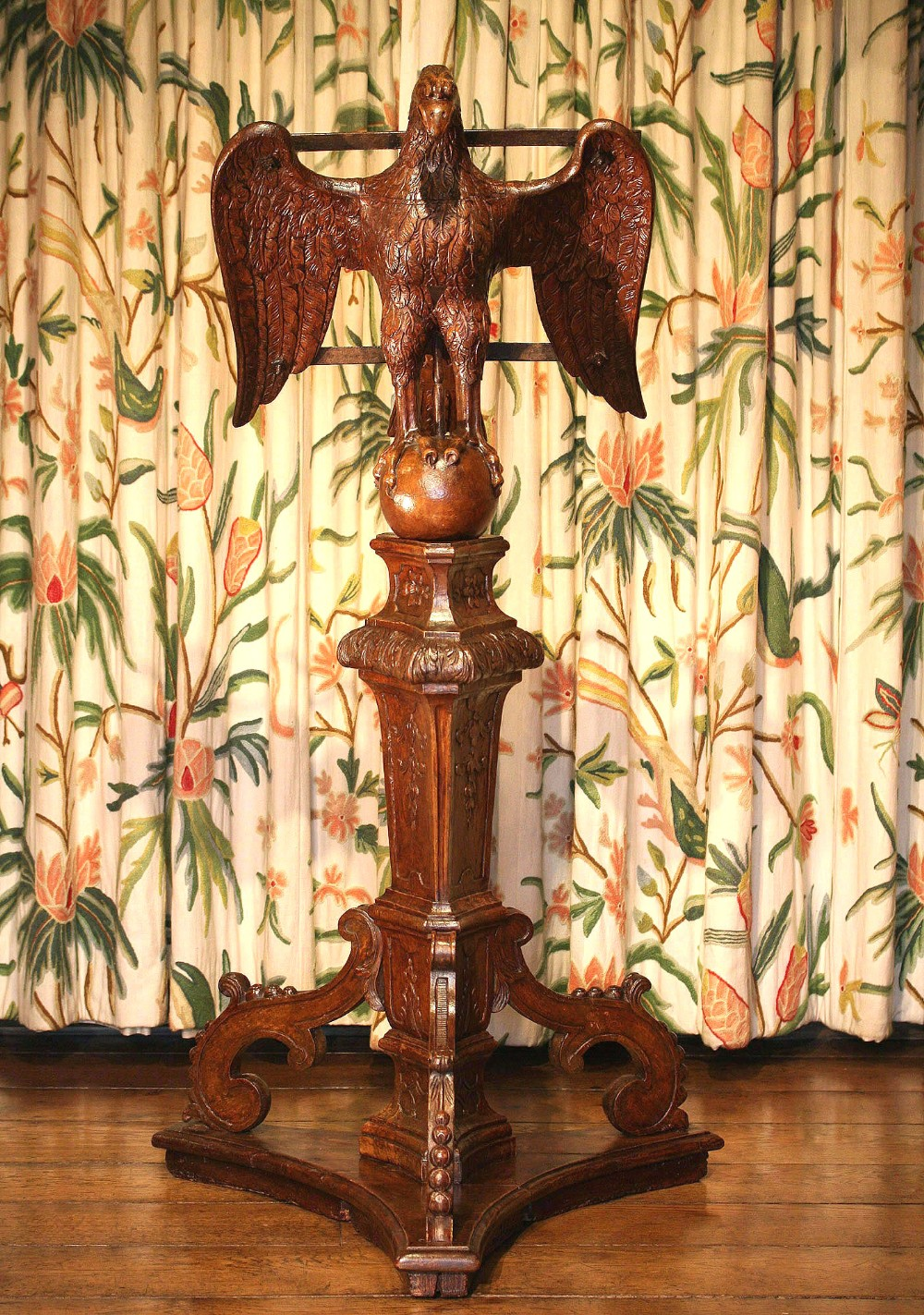 17th century carved oak eagle lectern