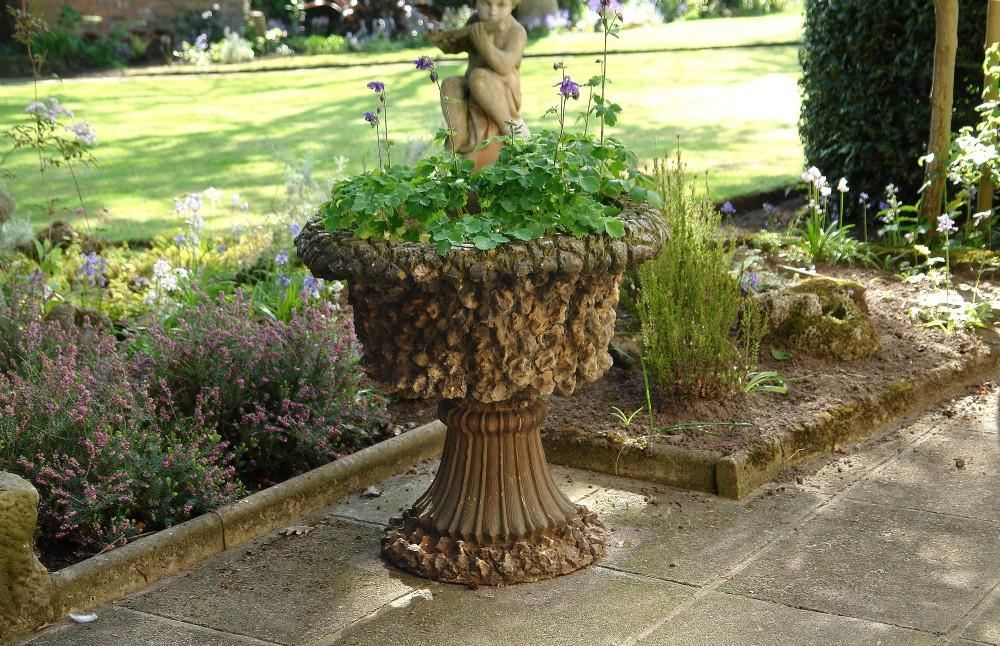 victorian grotto stone urn planter