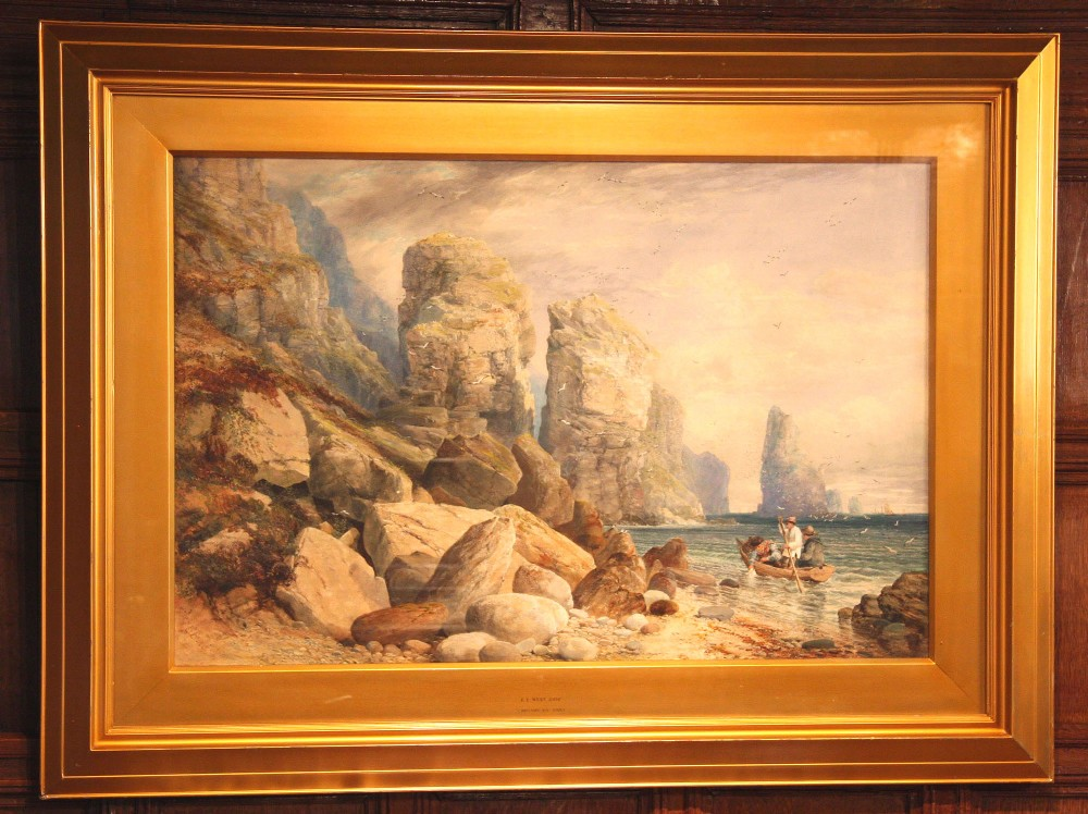 1854 watercolour painting of st brelades bay jersey by e e west
