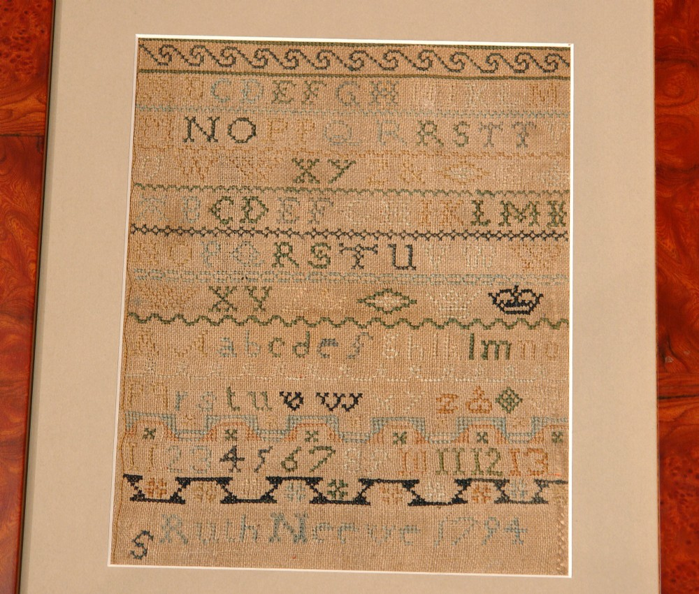 georgian needlework sampler dated 1794