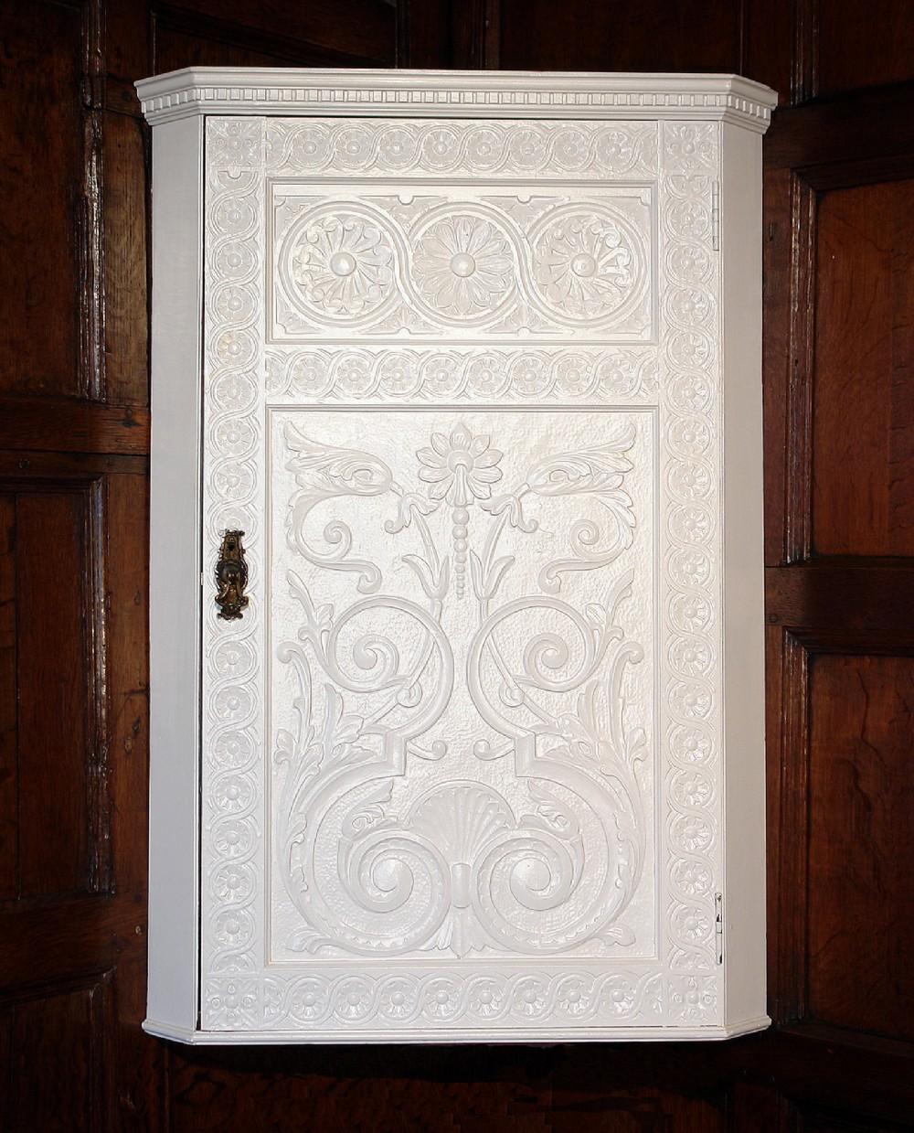 victorian painted hanging corner cupboard