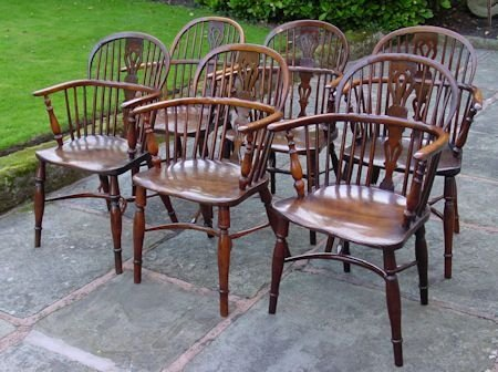 set of six yew wood windsor chairs
