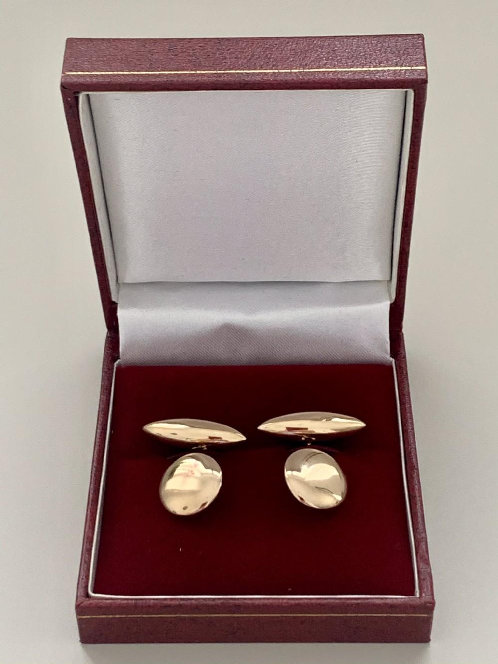 an edwardian 15ct pair of yellow gold cufflinks