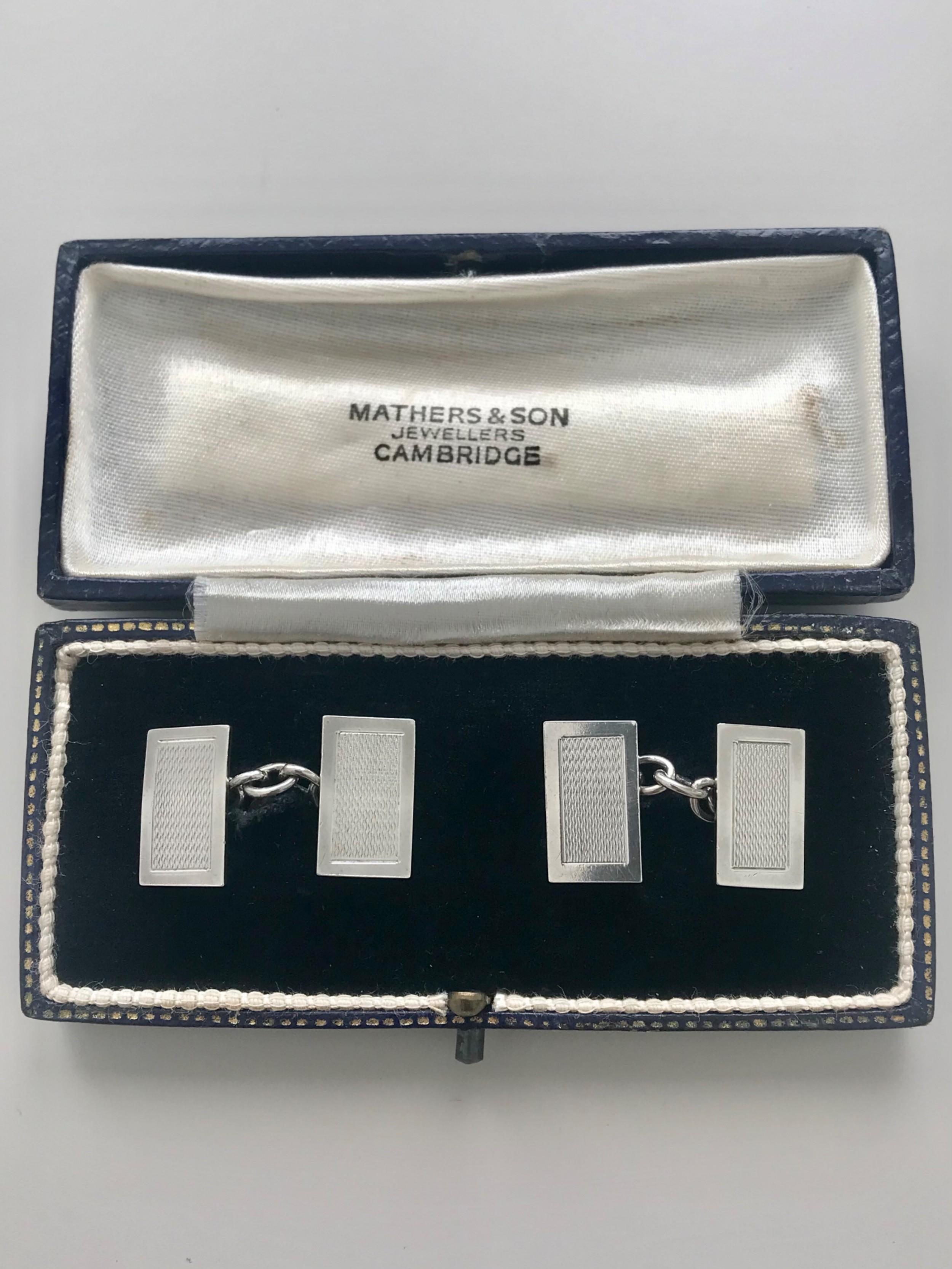 silver cufflinks hallmarked chester 1938