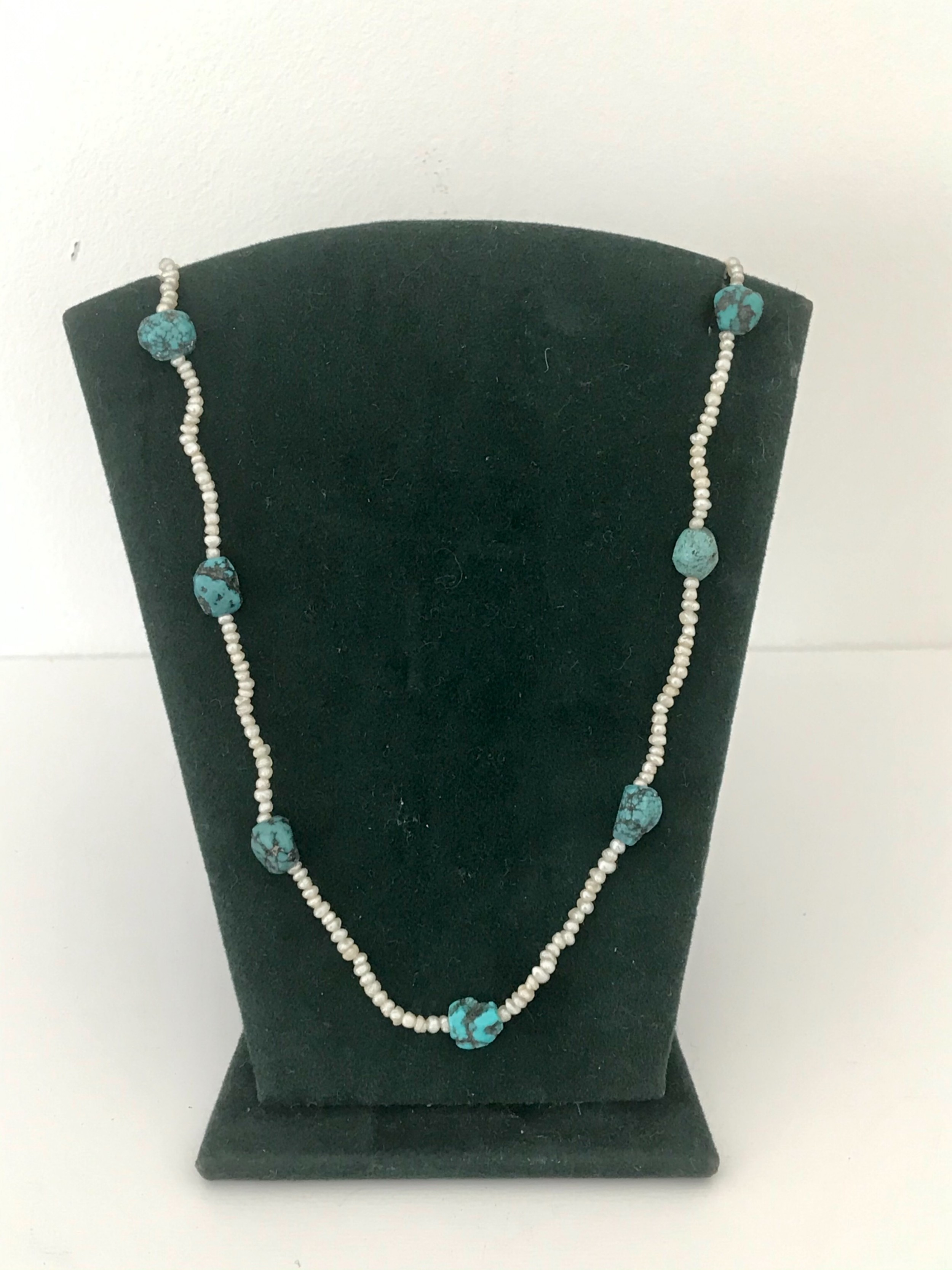 seed pearl and boulder turquoise necklace
