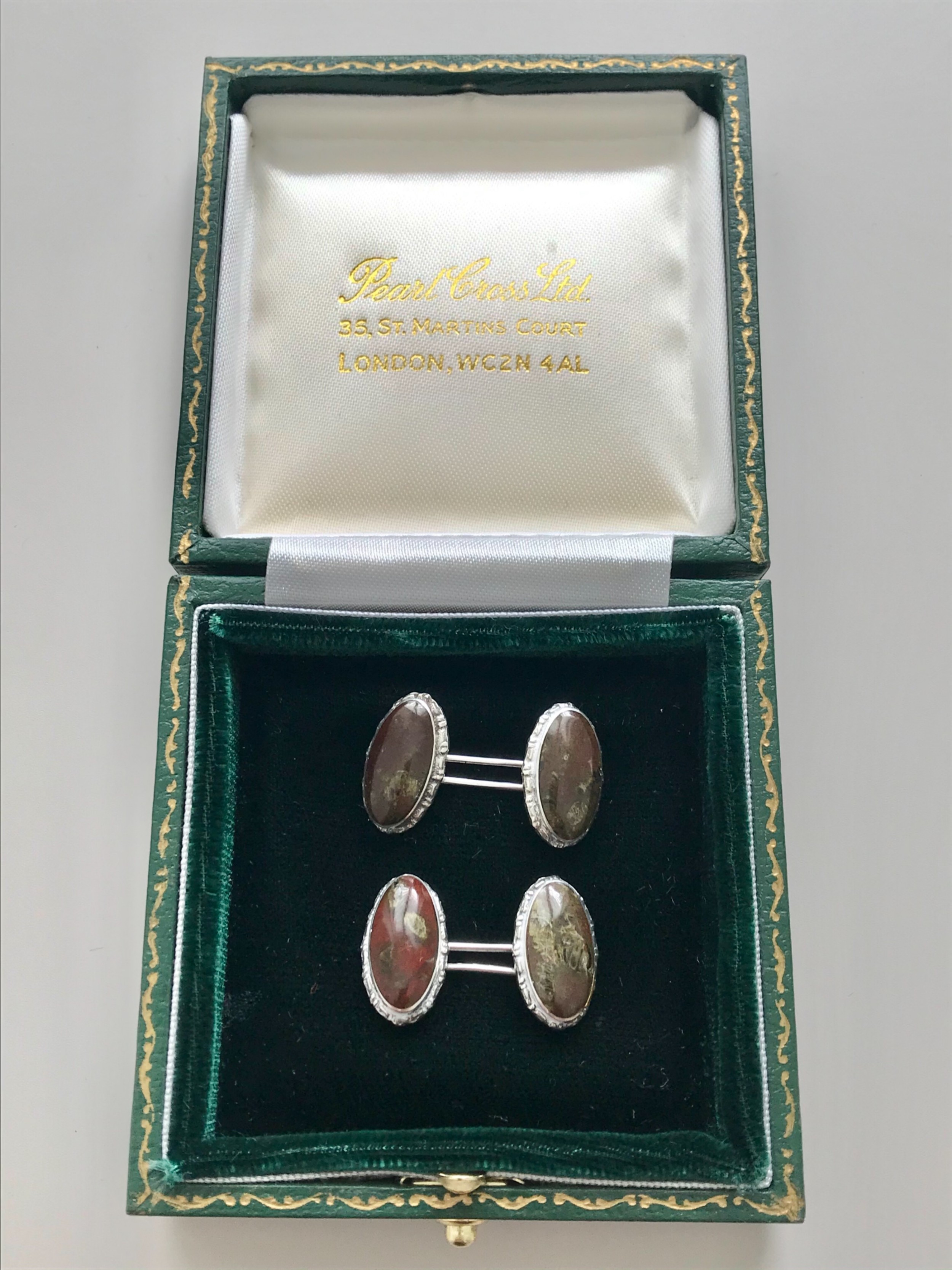 a pair of silver and blond stone cufflinks circa 1900
