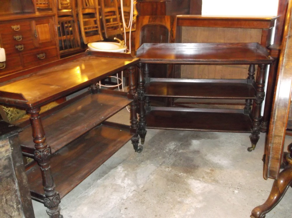 a very close pair of early victorianor slightly earlier mahogany buffet trolleys