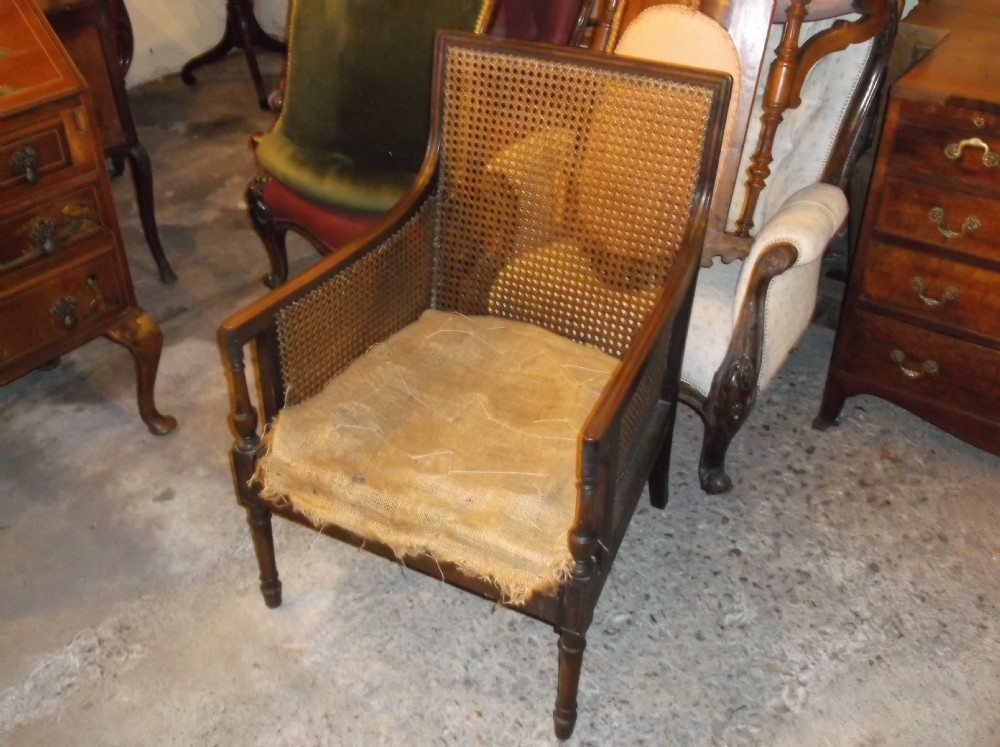 Charmant Edwardian Cane Bergere Armchair