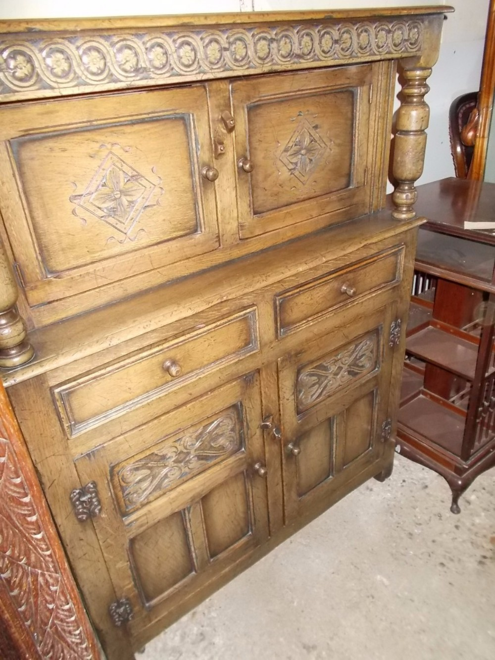 small early 20th century ipswich oakpanelled side cupboard