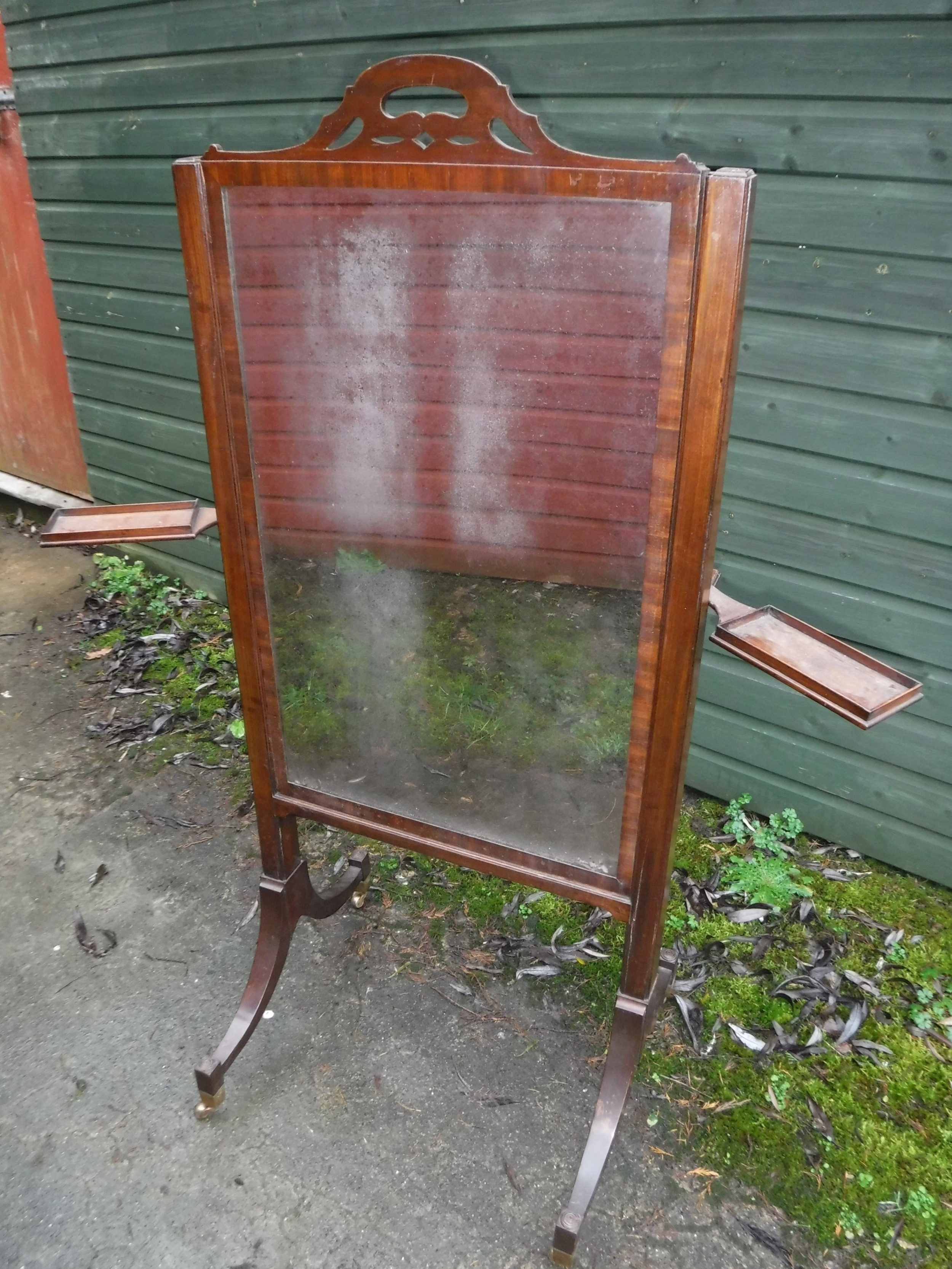 19th century adjustable height cheval dressing mirror