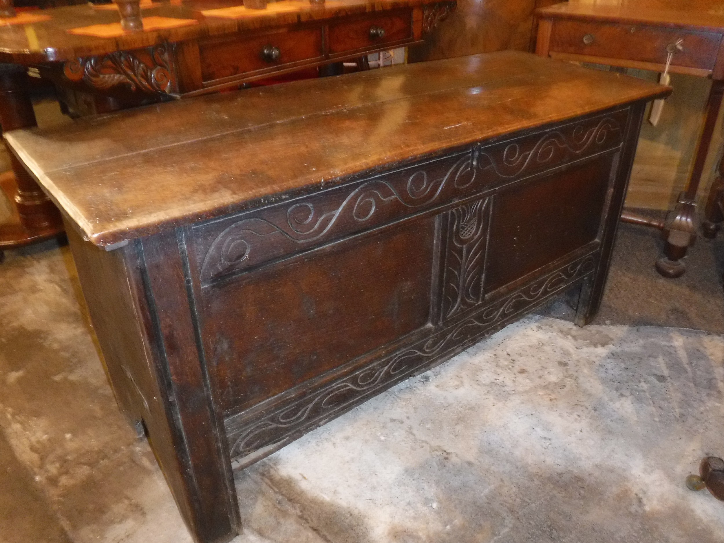 18th century west country carved and panelled chest