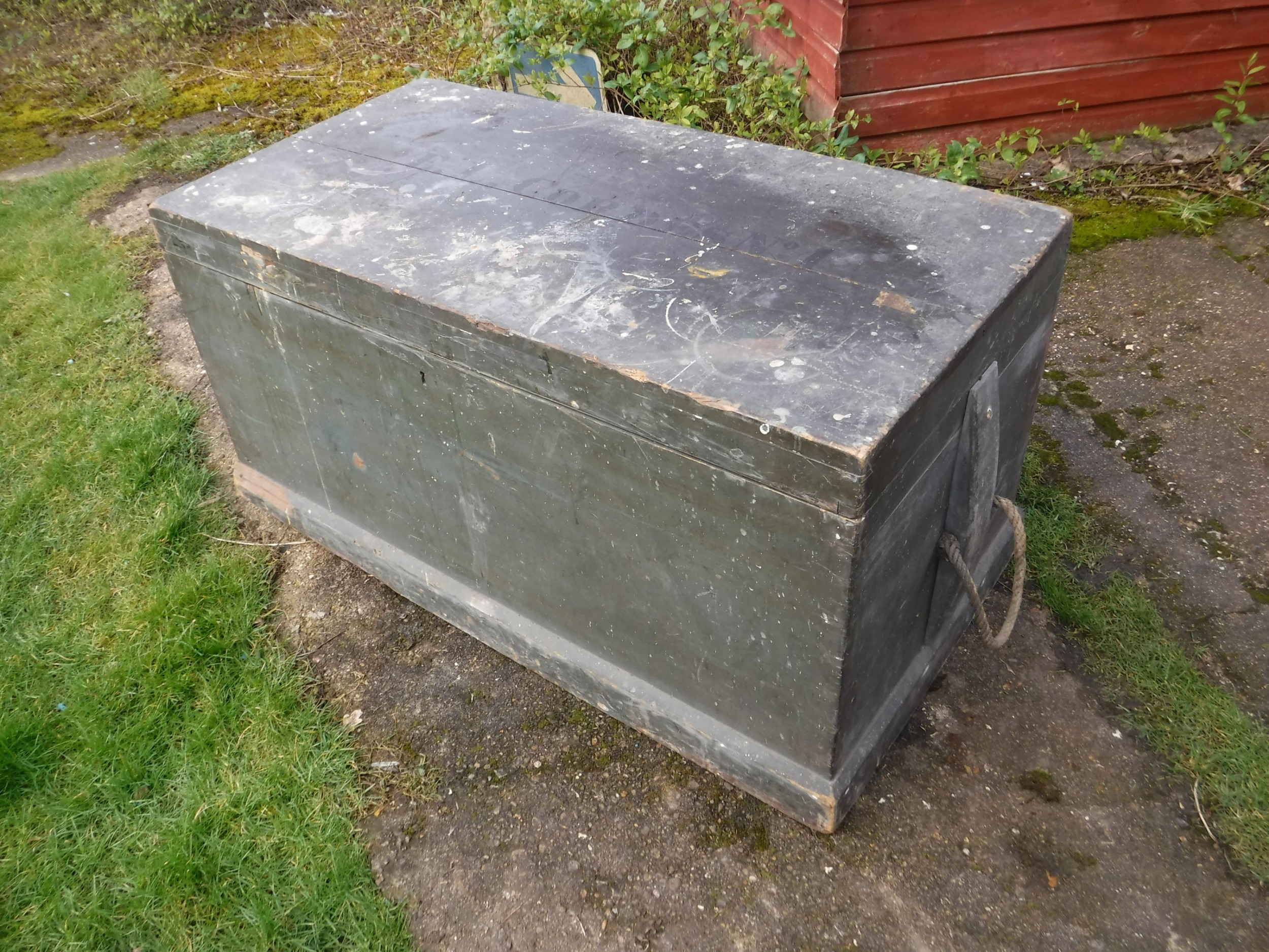 late 19th century painted travelling trunkoriginal paint