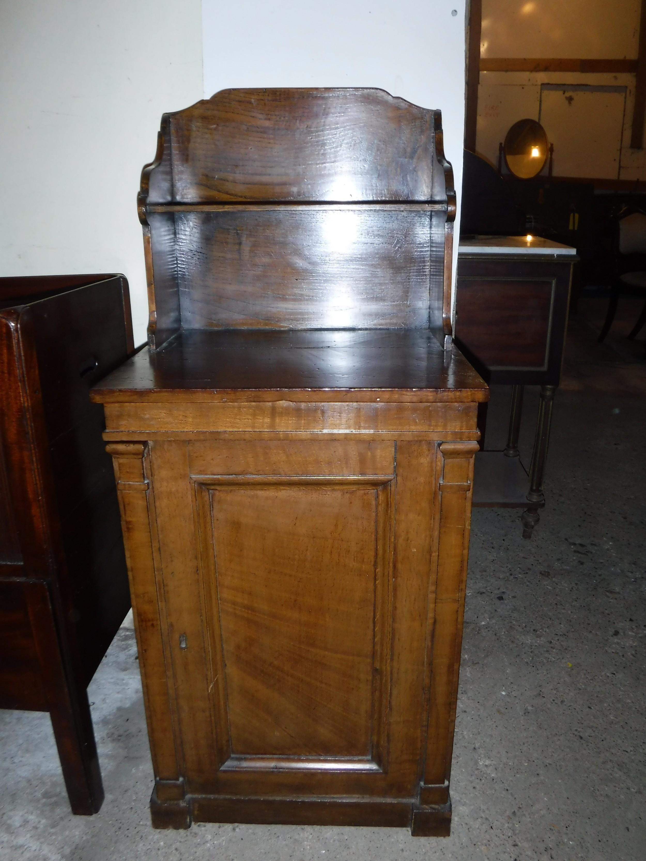 useful early 19th century figured oak side cabinet