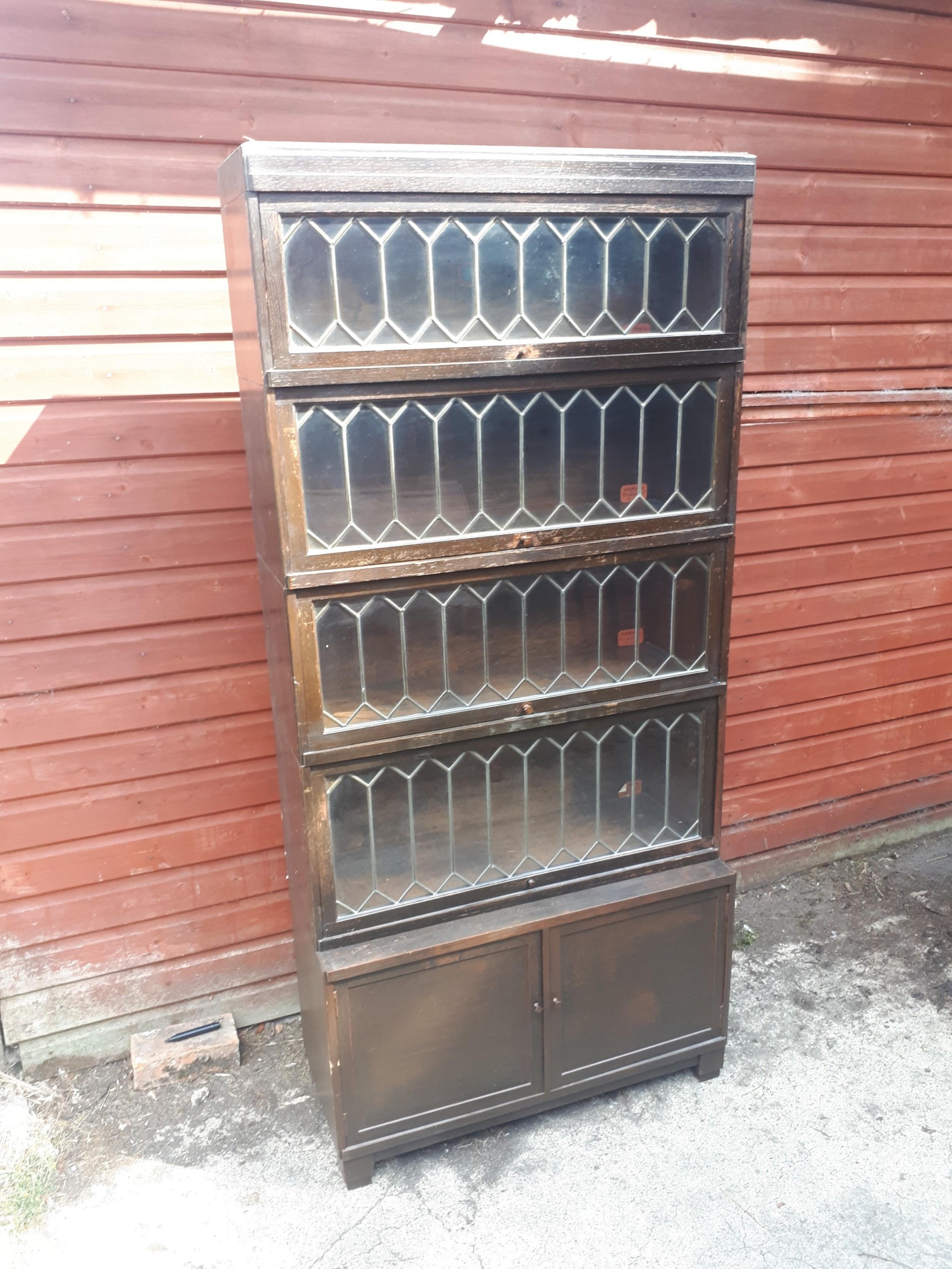 oak leaded glazed 5 tier globe wernicke bookcase cabinet