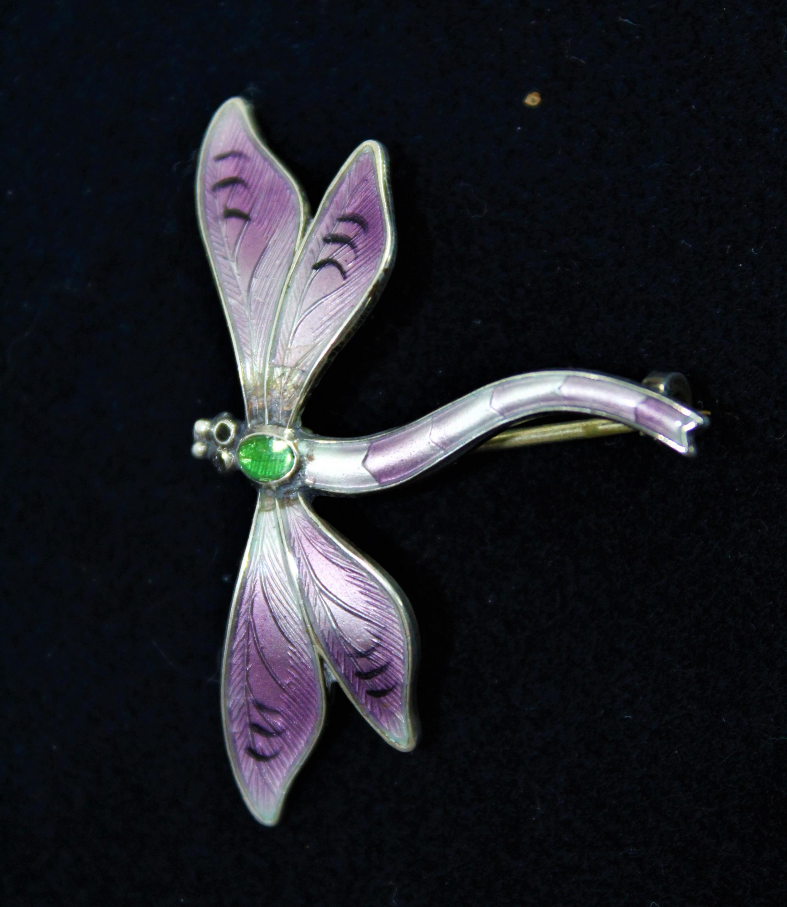 john atkins sons enamelled dragonfly brooch