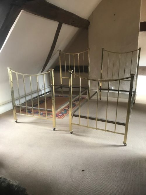 pair of single brass beds by mapple co