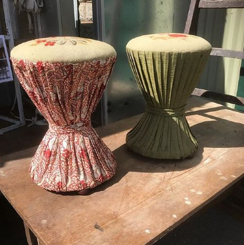 pair of 19th c country house diabolo stools
