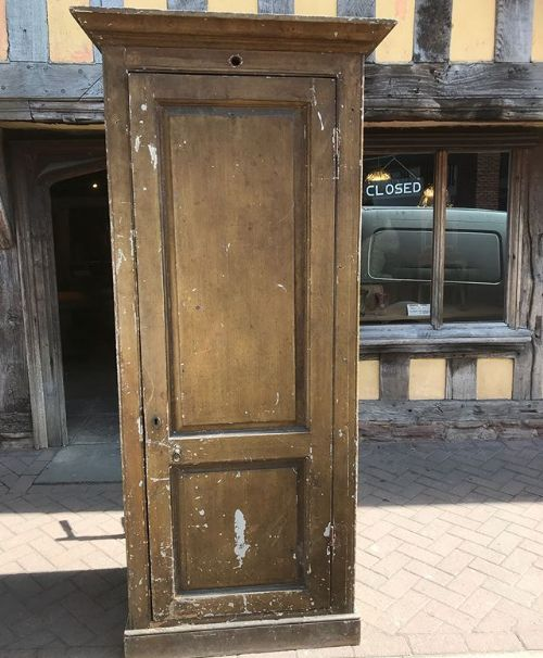 18thc country house single door painted pine cupboard