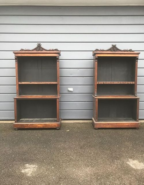 19thc pair of rosewood open bookcases with drawer in plinth