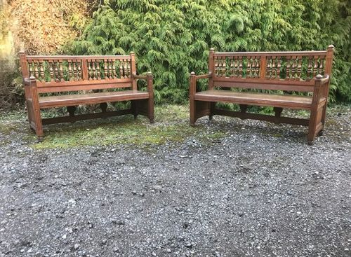 pair of edwardian oak benches c1890