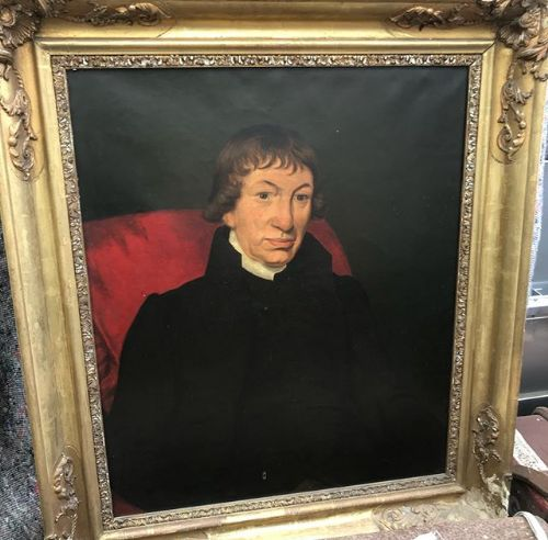19thc oil portrait on canvas in gilded frame