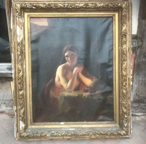 19thc large oil painting on canvas in gilded frame