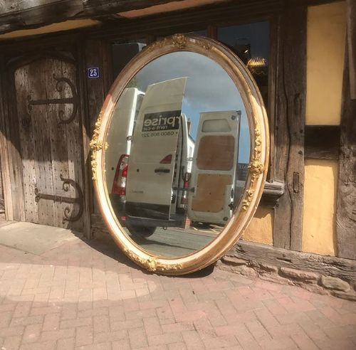 19thc very large oval mirror