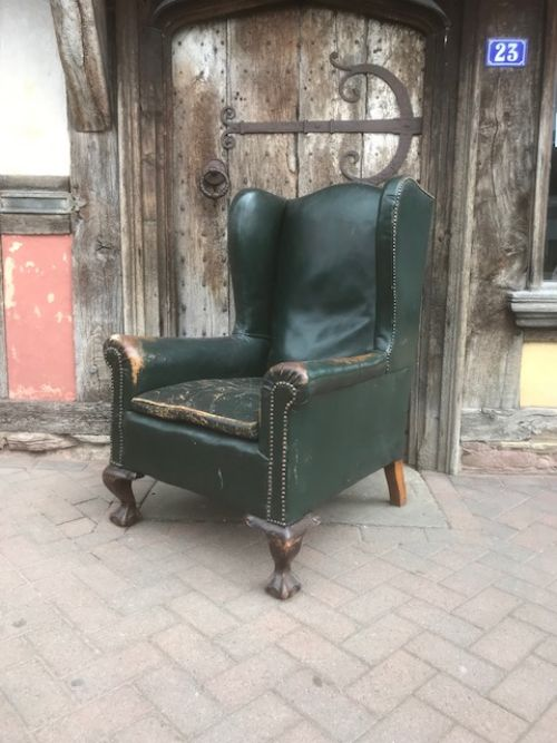 19thc green leather wing armchair
