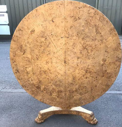 regency bleached oak inlay table