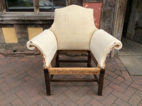 18thc mahogany scroll arm camel back armchair